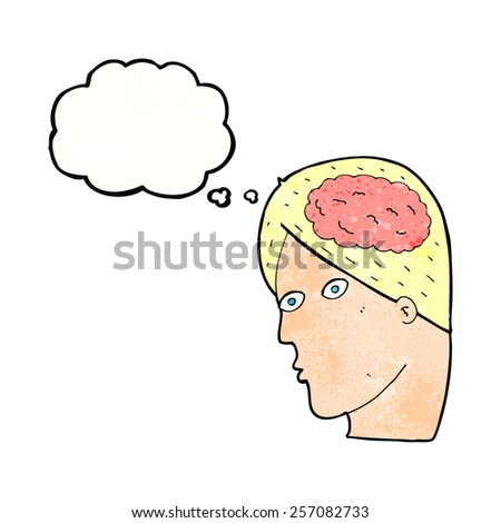 cartoon head with brain symbol with thought bubble - stock vector