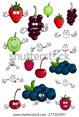 Cartoon healthy berries and fruit characters with cherry, strawberry, raspberry, blueberry, gooseberry and currant for fresh nutrition food concept design, isolated on white background - stock vector