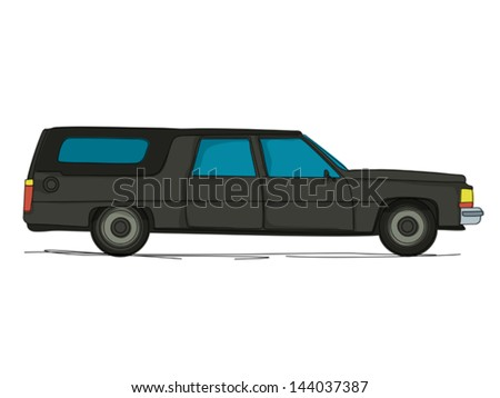 Cartoon hearse car against white background - stock vector
