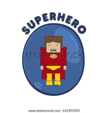cartoon hero red strength - stock vector