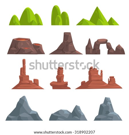 Cartoon hills and mountains set, vector isolated landscape elements for web or game design - stock vector