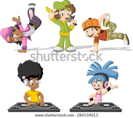 Cartoon hip hop dancers with a singer and a dj playing music  - stock vector