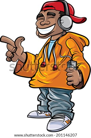 Cartoon hip hop fan with earphones and a mini player - stock vector