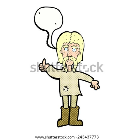 cartoon hippie man giving thumbs up symbol with speech bubble - stock vector