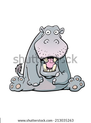 Cartoon Hippo - stock vector