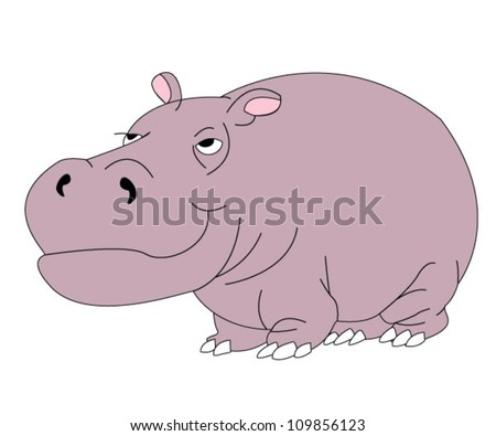 Cartoon hippopotamus over white background - stock vector