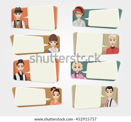 Cartoon hipster people wearing vintage clothes talking with speech bubbles  - stock vector