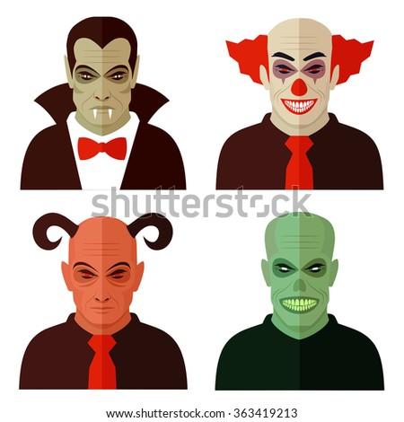 cartoon horror characters, evil clown, scary devil, creepy zombie, dracula vampire  - stock vector