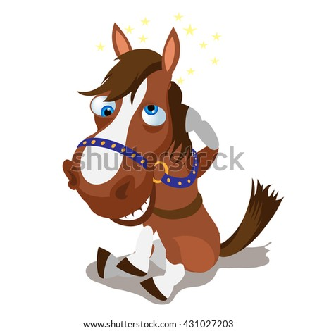Cartoon horse hit his head and smiling. Vector illustration. - stock vector