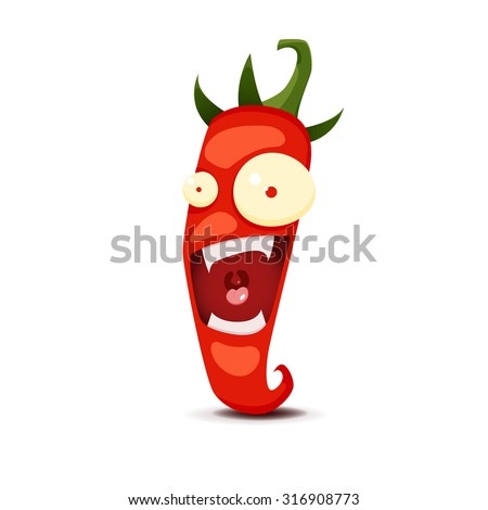 Cartoon Hot chili pepper vector illustration - stock vector