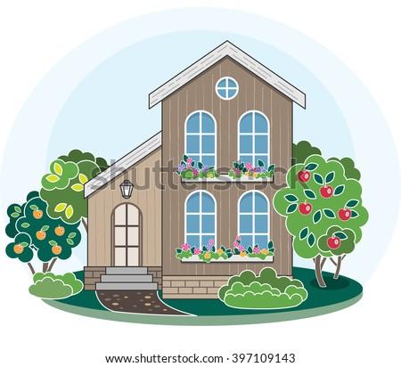 Cartoon house. Summer landscape. Apple tree garden. Landscaping concept. Outdoors. Cozy family home. Courtyard. - stock vector