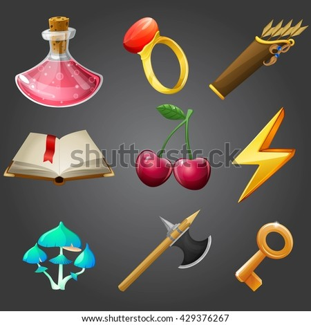 Cartoon icons collection for 2d games, vector illustration. - stock vector