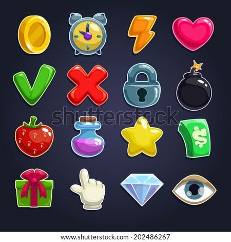 Cartoon icons for game user interface, vector set - stock vector