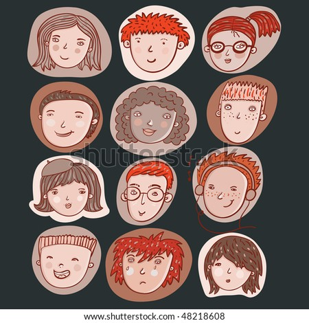Cartoon icons. Funny people in retro colors - stock vector