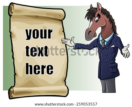 Cartoon illustration: an elegant and charming horse and a parchment with sample text. Easy to edit - stock vector