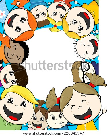 cartoon illustration group of happy childs framing copy space - stock vector