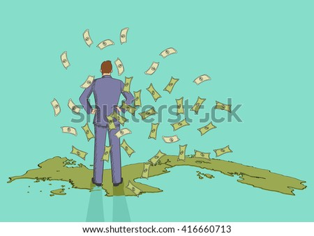 Cartoon illustration of a businessman from back view standing on the map of Panama with money rain, Panama papers, scandal, corruption concept - stock vector