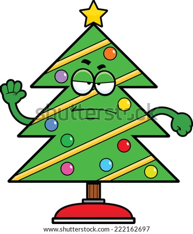 Cartoon illustration of a Christmas tree with a grumpy expression.  - stock vector