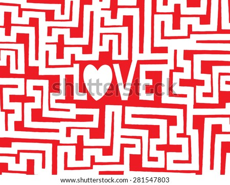 Cartoon illustration of a complex maze to find the way into love - stock vector