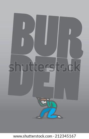 Cartoon illustration of a crawling man bearing a burden word - stock vector