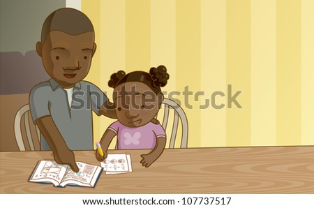 Cartoon illustration of a father helping his daughter with her math homework. Add your own text in the corner, or crop it to make a balanced square composition. - stock vector
