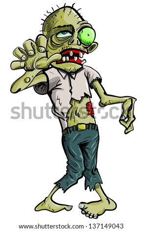 Cartoon illustration of a ghoulish undid green zombie in tattered clothing with big eye , isolated on white  - stock vector