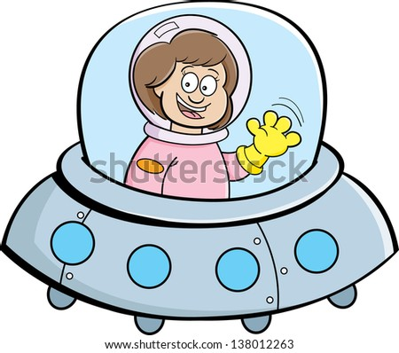 Cartoon illustration of a girl in a spaceship. - stock vector