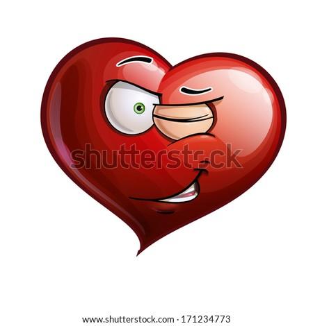 Cartoon Illustration of a Heart Face Emoticon winking - stock vector