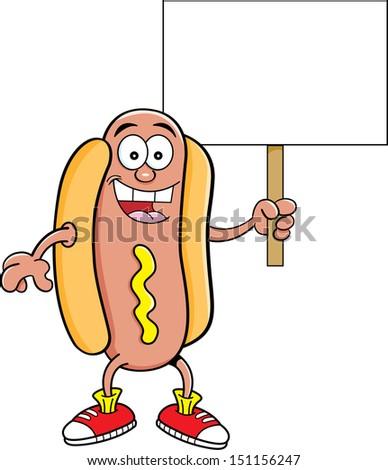 Cartoon illustration of a hotdog holding a sign. - stock vector
