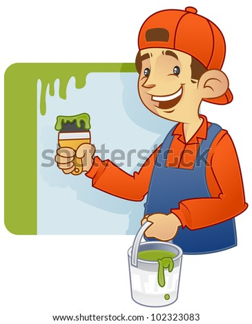 cartoon illustration of a house decorator doing wall painting. - stock vector