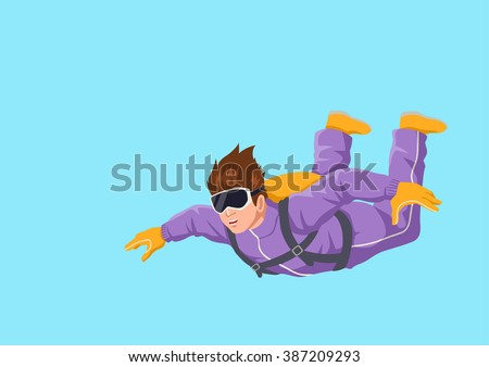 Cartoon illustration of a man sky diving - stock vector