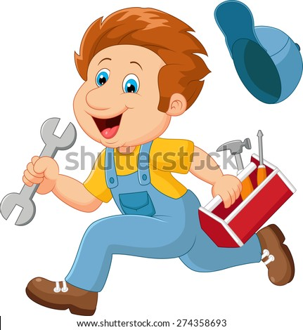 Cartoon illustration of a mechanic - stock vector