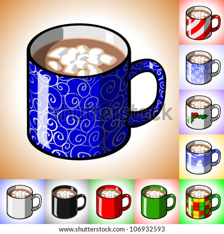 Cartoon illustration of a mug of hot cocoa with mini marshmallows floating in it. Includes many alternative designs on the mug. - stock vector