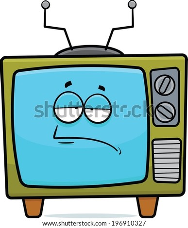 Cartoon illustration of a retro TV set with a tired expression.  - stock vector