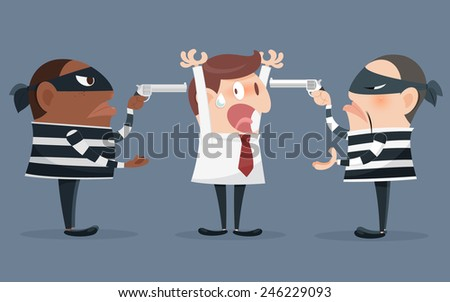 Cartoon illustration of a robber holding a gun - stock vector