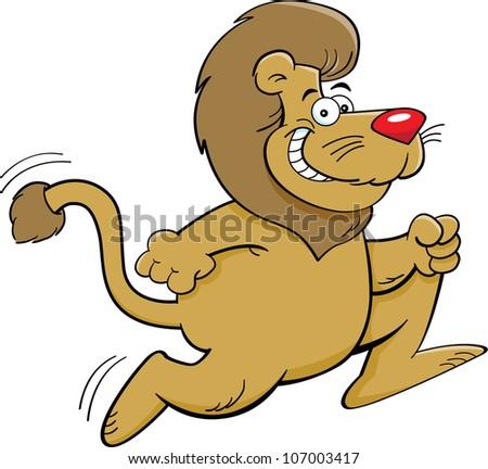 Cartoon illustration of a running lion - stock vector