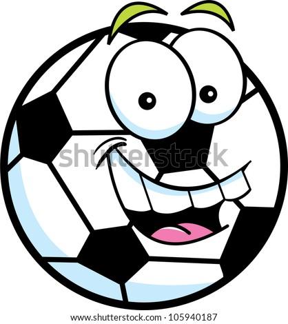 Cartoon illustration of a soccer ball - stock vector