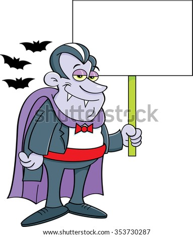 Cartoon illustration of a vampire holding a sign. - stock vector