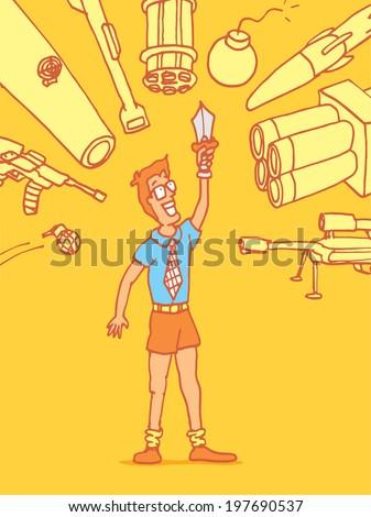 Cartoon illustration of a vulnerable novice man under attack - stock vector