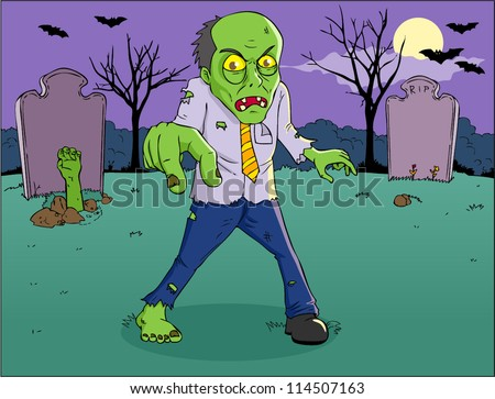 Cartoon illustration of a zombie on graveyard - stock vector