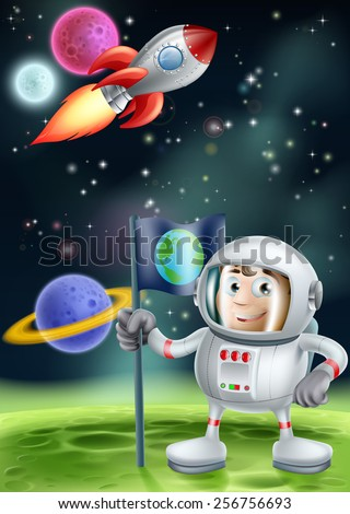 Cartoon illustration of an astronaut planting a flag on an alien world planet with a space rocket flying in the background - stock vector