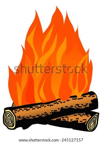 cartoon illustration of campfire - stock vector