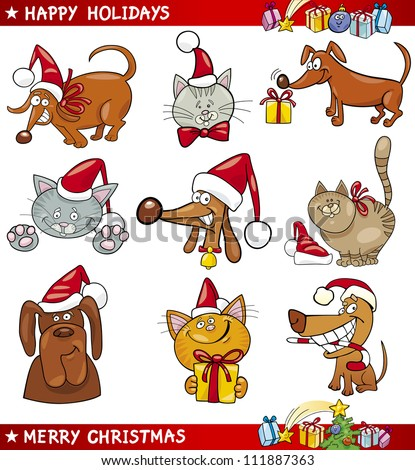 Cartoon Illustration of Christmas Themes with Cats and Dogs set - stock vector