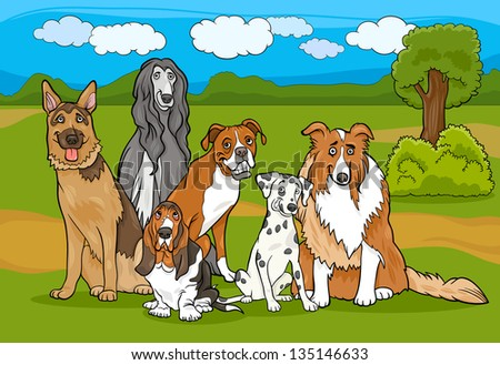 Cartoon Illustration of Cute Purebred Dogs or Puppies Group against Rural Landscape or Park Scene - stock vector