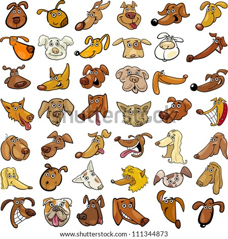 Cartoon Illustration of Different Funny Dogs Heads Huge Set - stock vector