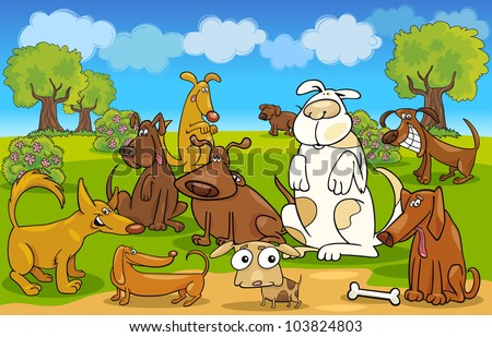 Cartoon Illustration of dogs on the meadow - stock vector