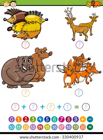Cartoon Illustration of Education Mathematical Addition Task for Preschool Children with Forest Animals - stock vector