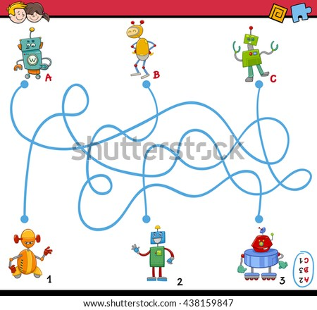 Cartoon Illustration of Educational Paths or Maze Puzzle Activity Task for Preschool Children with Robot Characters - stock vector