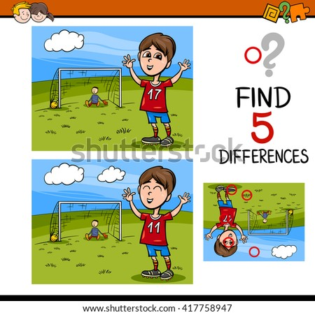 Cartoon Illustration of Finding Differences Educational Activity Task for Preschool Children with Boy Playing Soccer - stock vector