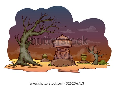 cartoon illustration of graveyard hand draw vector isolated on white - stock vector